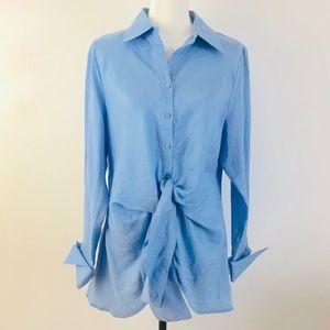 Neiman Marcus Scully Linen Tie Waist Blue Shirt L